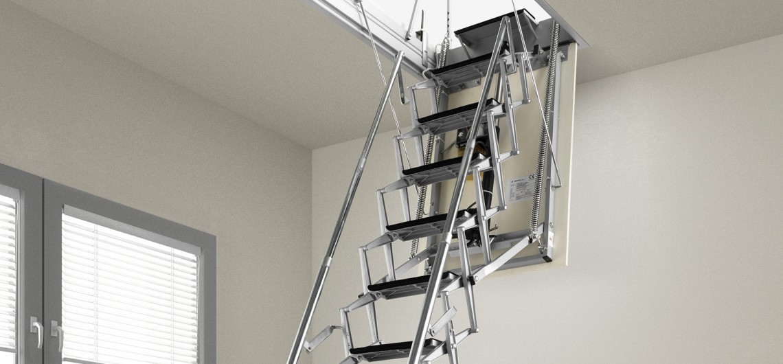 Af staircases loft ladders spiral staircases Motorized attic stairs
